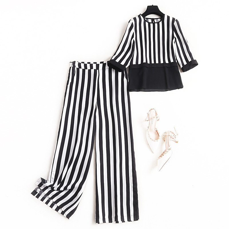 Women black white striped pant suit new 2020 spring summer color block 3/4 sleeve chiffon tops and blouses casual two piece set