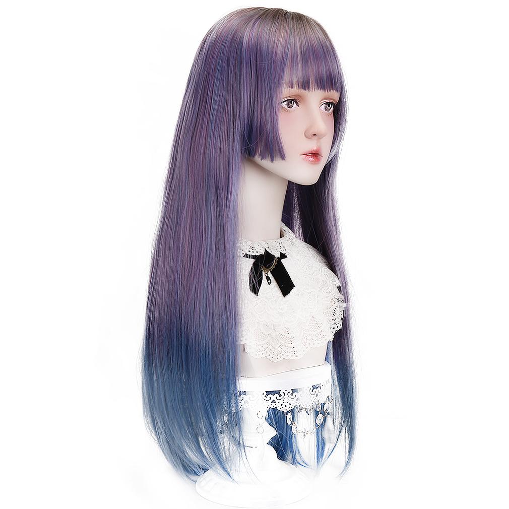 Free Beauty Long Straight Synthetic Ombre Black Hair Wigs with Korean Air Bangs for Women Lolita Japan Harajuku Cosplay Party