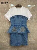 100%Cotton Dress 2020 Summer Style Women Luxurious Embroidery Golden Beading Deco Short Sleeve Bodycon Blue Denim Dress Peplum