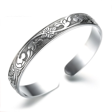 1 Pcs Vintage Antique Silver Flower Bangles Ethnic China Pattern Cuff Bracelet Women Ladys Hand Jewelry
