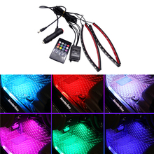 JIUWAN 1 Set Car RGB LED Light Music Voice Sound Control Auto Interior Decorative Atmosphere Lamp Foot Strip Light lit 45 x 11cm car decorative voice sensor sound controlled 5 color led light sticker multicolored