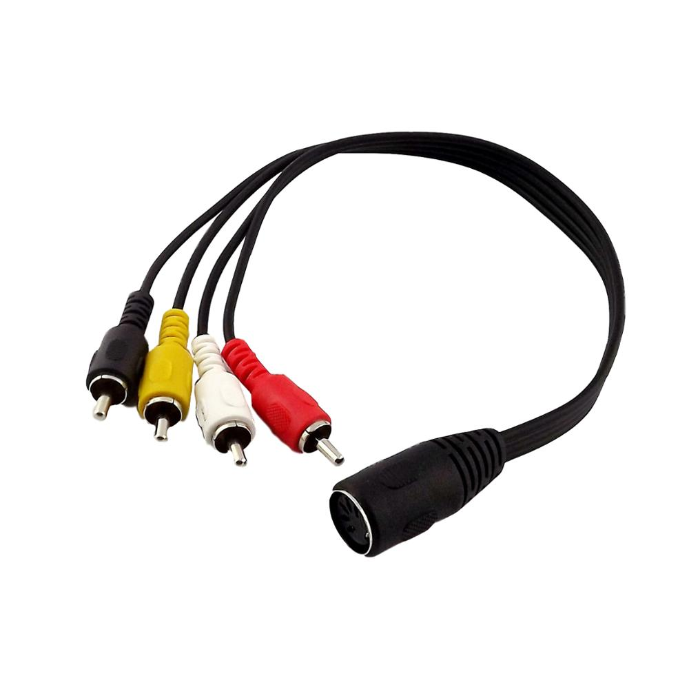 1x Audio Cable <font><b>5Pin</b></font> MIDI <font><b>DIN</b></font> <font><b>Female</b></font> <font><b>Jack</b></font> to 4 RCA Phono Male Adapter Connector Cable 1ft/30cm Nickel Plated image