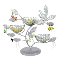 House Jewelry Tree Stand with Bird Nest Metal Necklace Organizer Display Tree