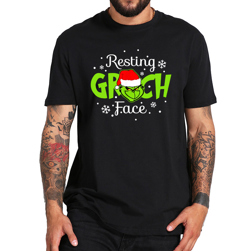 Resting Grinch Face T Shirt Funny Christmas Fantasy Movie Tshirt 100% Cotton EU Size Cool Breathable O-neck Tee Tops