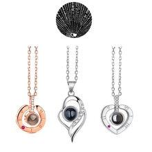 100 sprachen ICH Liebe Sie Halskette Herz Anhänger Hochzeit Romantische Speicher Projektion Halskette für Frauen Mädchen Freund Damen Geschenke