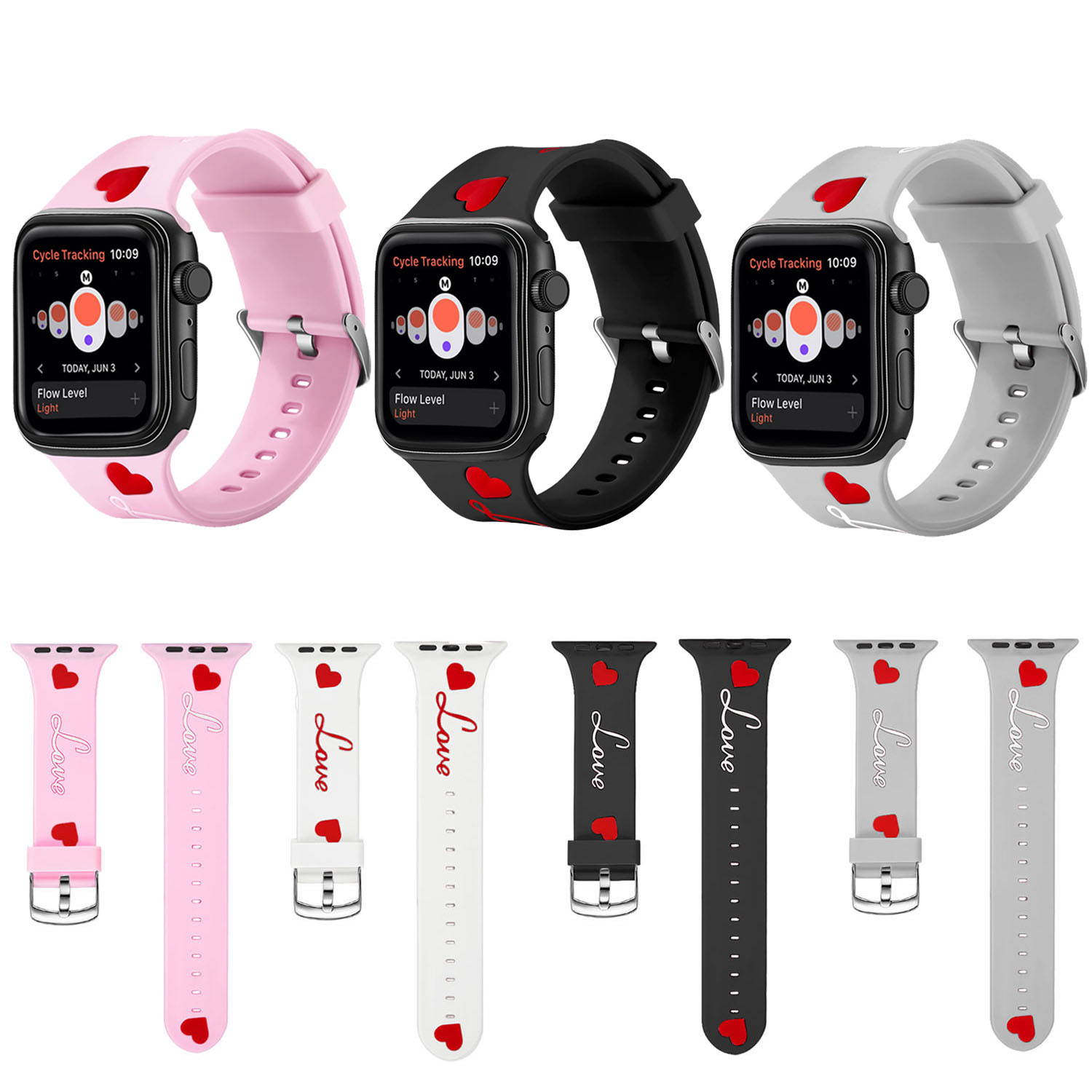 Watchband For Apple Watch 38mm 40mm 42mm 44mm Love Heart Soft Silicone Sport Strap For iWatch Series 4 3 2 1 Bracelet Wristband