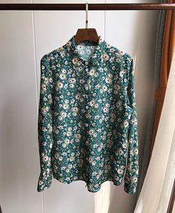 Image 2 - Woman Shirt Green Floral Cotton Silk Shirt Spring New Romantic Soft Long Sleeve Shirt