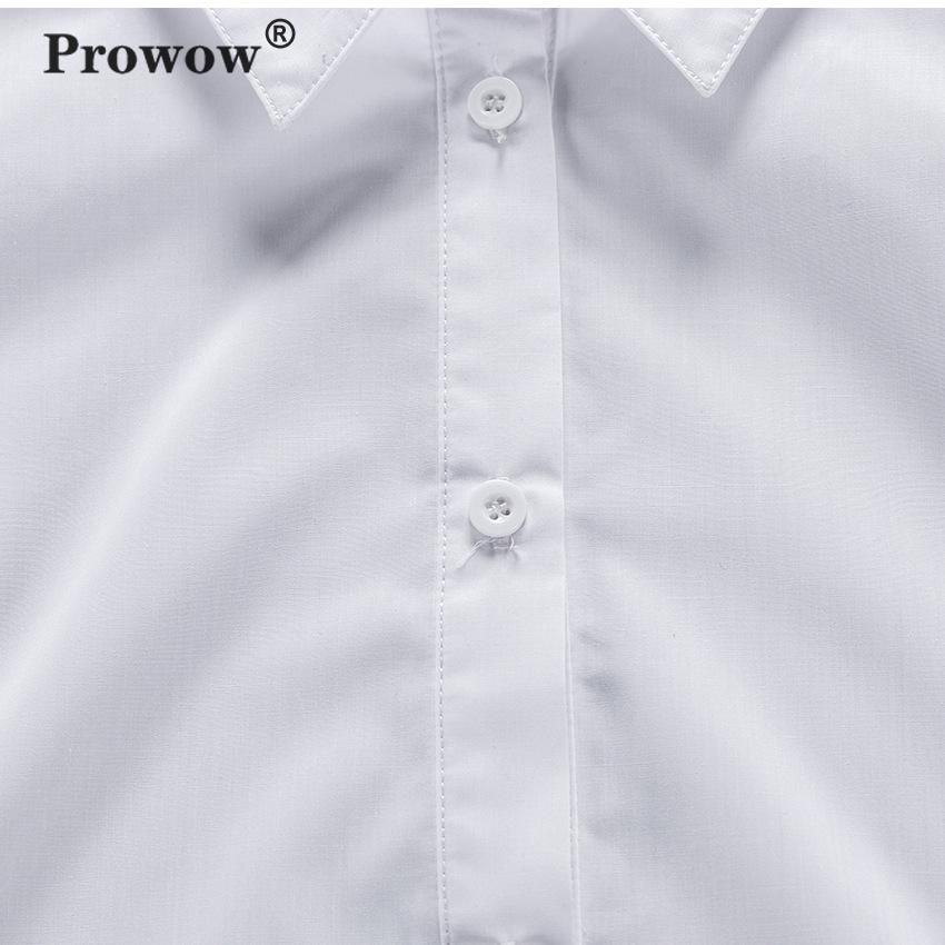 Prowow Fashion Cotton Shirt Women Long Puff Sleeve Single-breasted Spring Blouse Ladies Office Chic White Designer Tops 2020 New