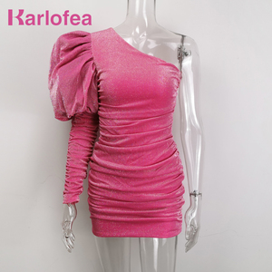 Image 1 - Karlofea Female New Elegant Spring Outfits Dress Chic Sparkly Ruched Mini Dress Lovely One Shoulder Puff Sleeve Club Party Dress