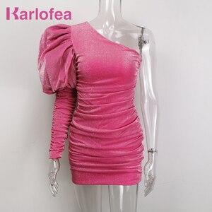 Image 1 - Karlofea Weibliche Neue Elegante Frühling Outfits Kleid Chic Sparkly Geraffte Mini Kleid Schöne Eine Schulter Puff Hülse Club Party Kleid