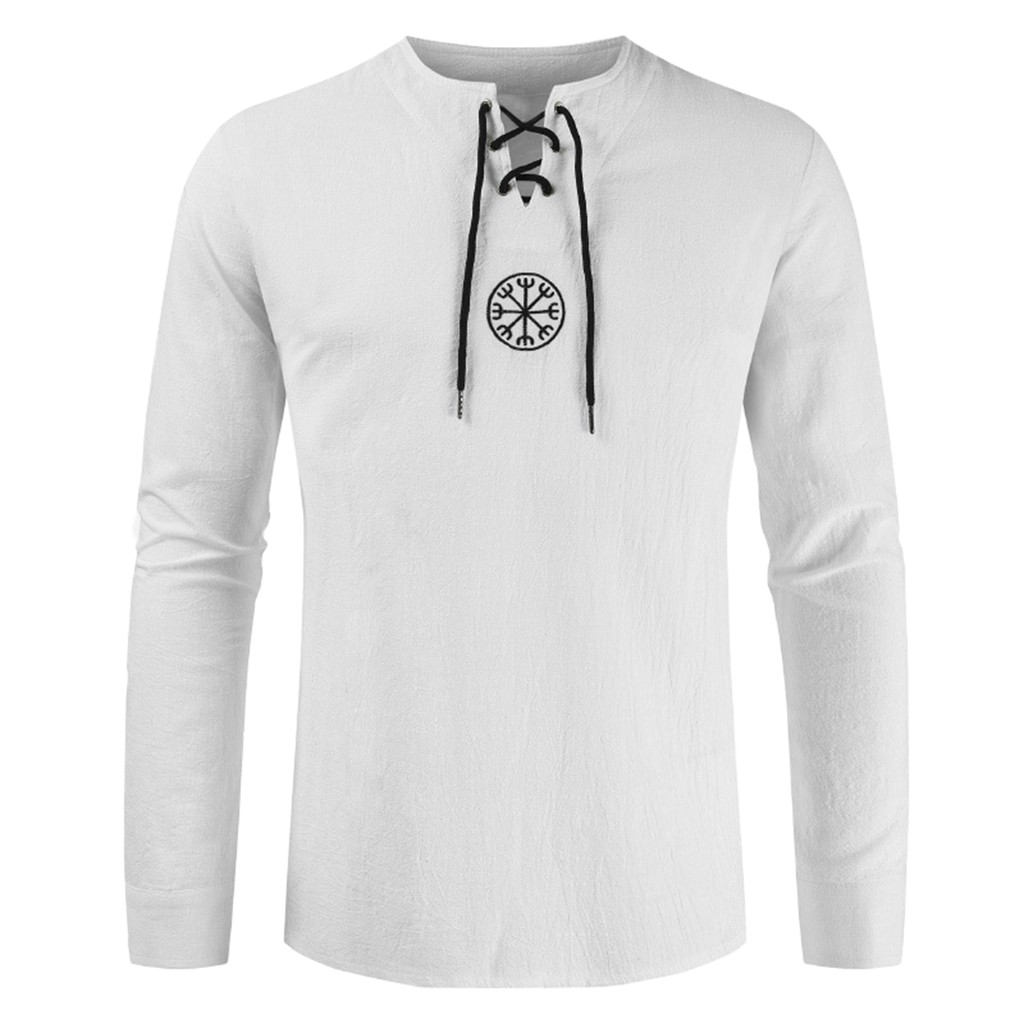 Men's T Shirt Drawsting Shirts Tops Blouses Fashion Cotton Linen Solid Medieval Retro Costume Long Sleeve Autumn Tops Camisas