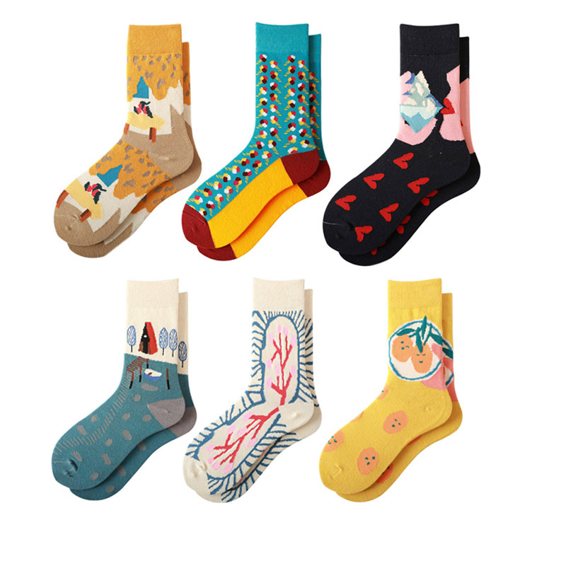 Women Socks 2020 Spring New Fashion Funny Socks Female Casual Print Cotton Socks Women Breathable Casual Style Women's Sock