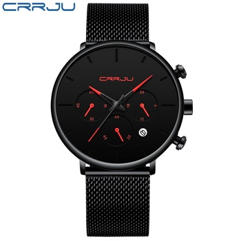 Relogio Masculino CRRJU Mens Business Dress Watches Luxury Casual Waterproof Sport Watch Men 3-Sub Dial Quartz Slim Mesh Watch