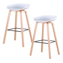 2Pcs/Set Lounge Chairs Bar Chair White Beech Wood Legs PP Surface Bar Stools Chairs Home Office Kitchen Dining Coffee Chairs