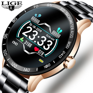 Новинка 2020, мужские смарт-часы со стальным ремешком, водонепроницаемые спортивные часы для Xiaomi iPhone, информация, пульсометр, умные часы, фитн...