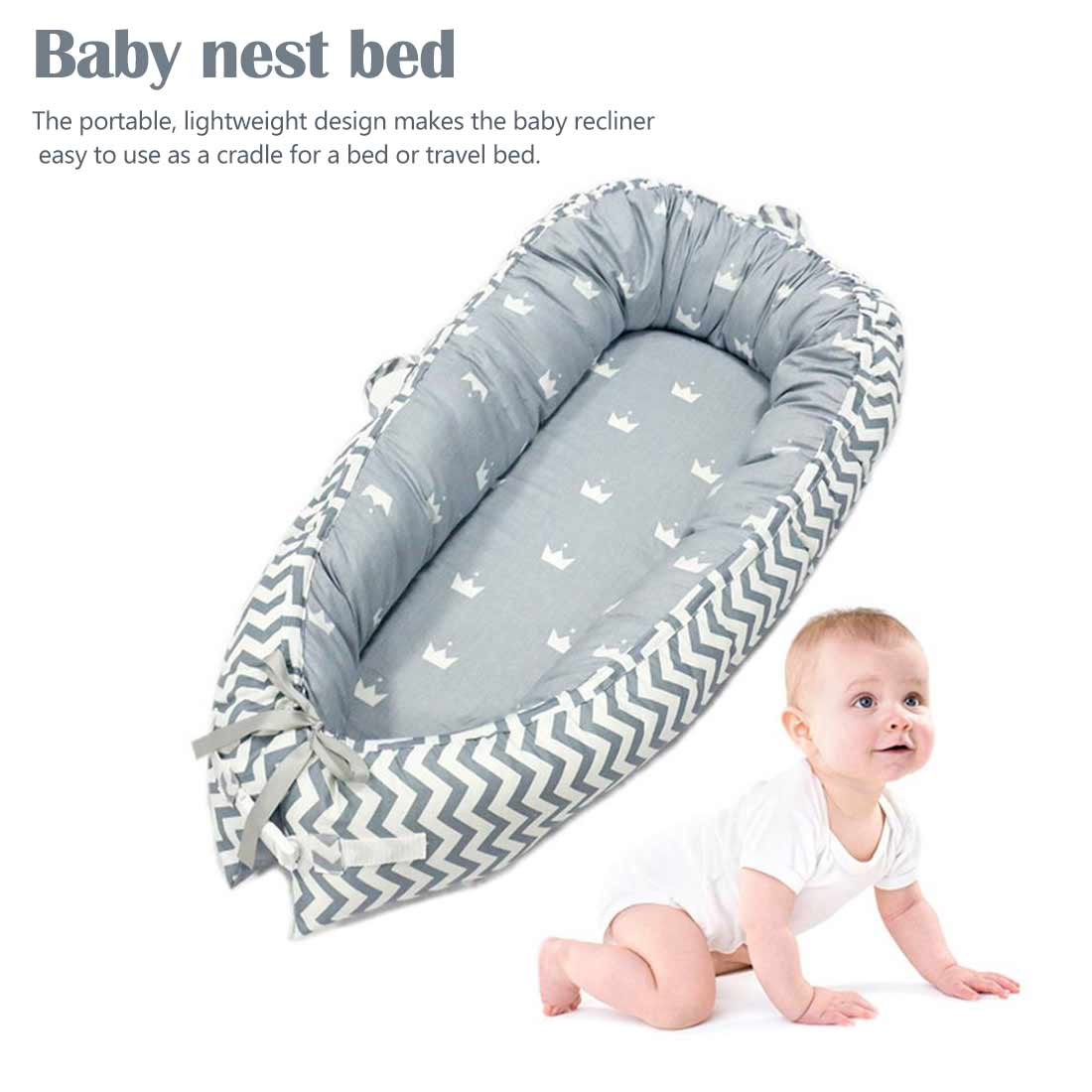 80*50cm Baby Nest Bed Portable Crib Travel Bed Infant Toddler Cotton Cradle For Newborn Baby Bassinet Bumper