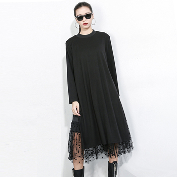 [EAM] Women Black Mesh Dot Split Joint Dress New Stand Collar Long Sleeve Loose Fit Fashion Tide Spring Autumn 2019 1B593 1