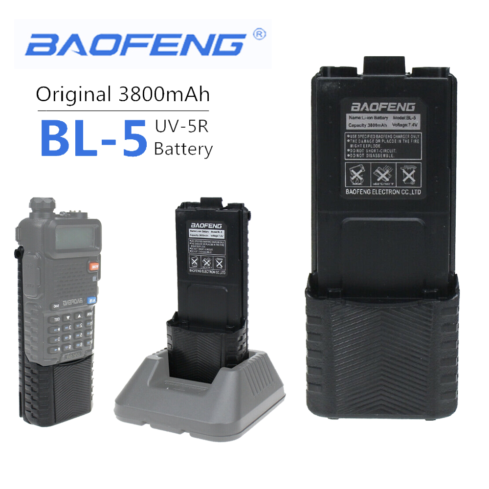 New 100% Original Baofeng UV-5R 3800 MAh Walkie Talkie Enlarge BL-5 7.4V Rechargeable Li-on Battery For Baofeng UV 5R UV5R UV-5R