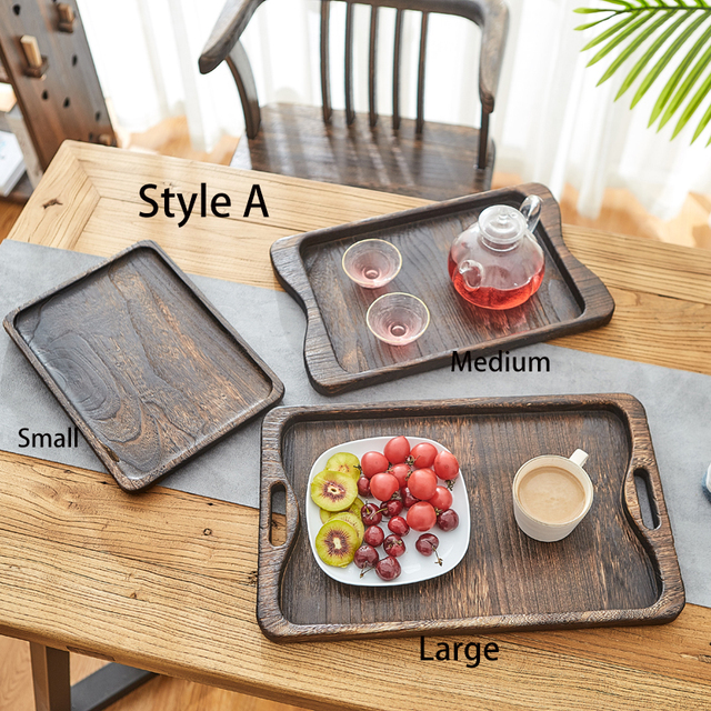 3 piece Set Paulownia Wood Serving Tray Tea Tray Food Tray Rectangular Wood Chinese Gongfu Tea Set Tray