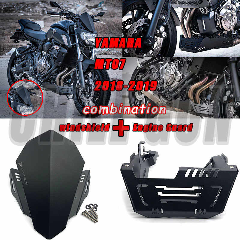 Motorcycle Aluminum Windshield Windscreen  Engine Guard Skid Plate Chassis Protective For YAMAHA MT-07 MT 07 MT07 2018 2019