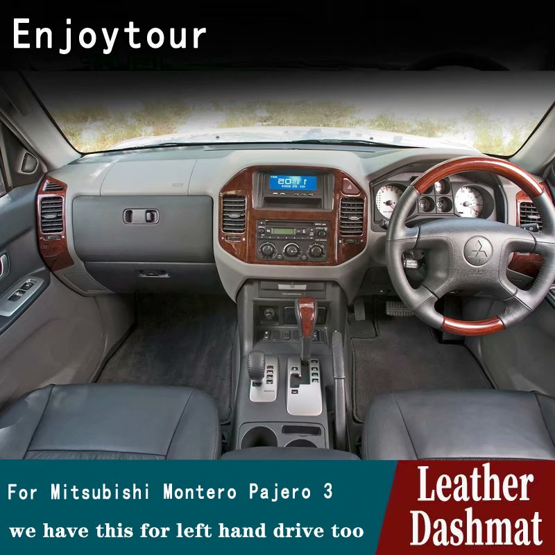 Dla Mitsubishi Montero Pajero 3 V77 V75 V73 2000 2001 2002 2003 2006 skóra Dashmat pokrywa deski rozdzielczej Pad desce rozdzielczej mata dywan samochodu RHD