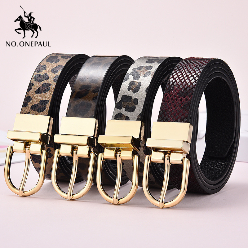 NO ONEPAUL Genuine leather luxury brand ladies fashion new belt double sided rotating alloy pin buckle