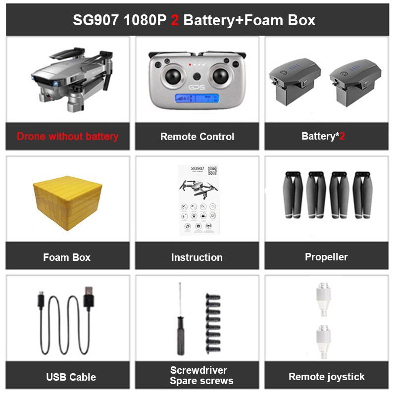SG907 GPS Drone 4K HD Adjustment Dual Camera Drone professional 50X Zoom wide angle lens 5G WIFI FPV RC Quadcopter Foldable dron