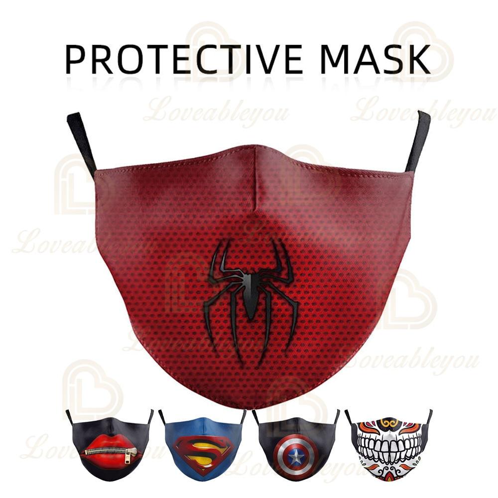 Superhero Spiderman Face Mask Funny Teeth Unisex Anti Dust Mouth Mask Multi Hot Sale Masque De Protection Facial Reusable Mask