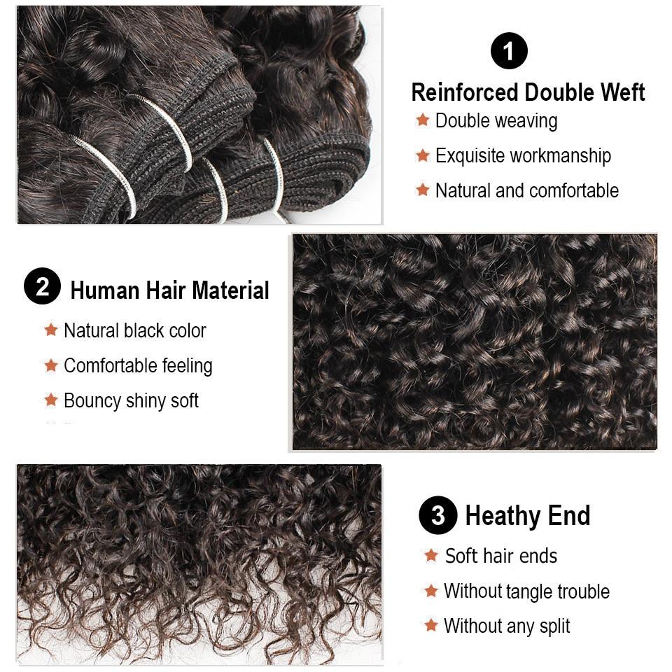 MOGUL HAIR Brazilian Jerry Curly Hair Bundles With Closure Natural Color 3/4 Bundles With Closure Non Remy Human Hair Extension