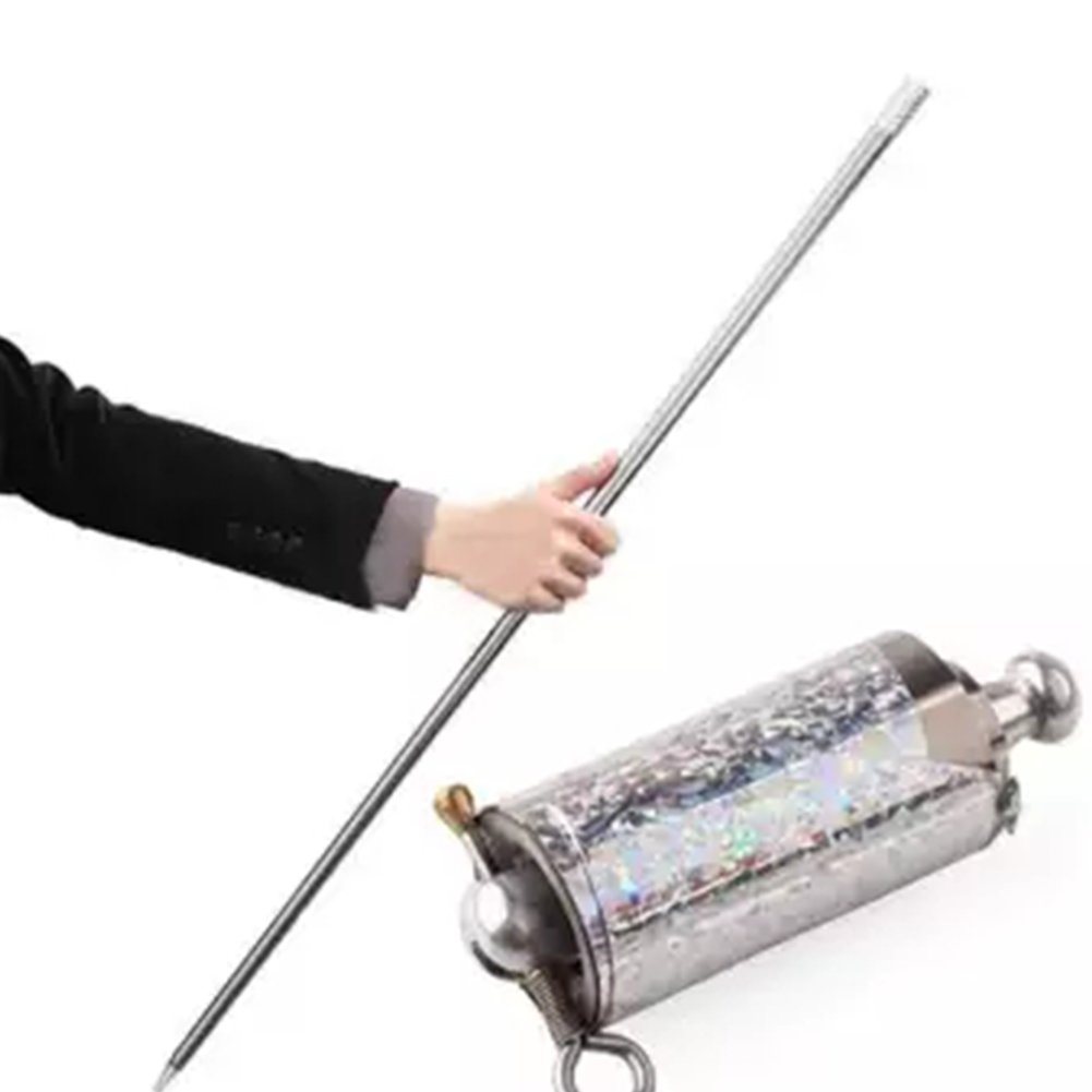 Classic Toys 110CM Length Appearing Cane Metal Silver Close Up Illusion Silk to Wand Tricks for Professional Magician Stage