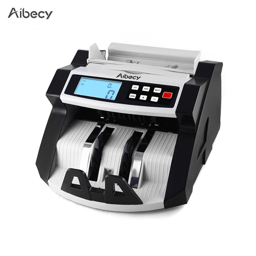 Aibecy máquina contadora de billetes de banco en efectivo y multimoneda, pantalla LCD con Detector de falsificación UV MG