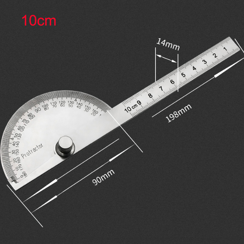 10cm 180 Degree Adjustable Protractor Multifunction Stainless Steel Roundhead Angle Ruler Mathematics Measuring Tool