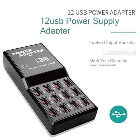 Vogek US Plug Travel Charger Smart Charging Station 5V12A  Multi USB Desktop Charger 12 USB Ports Quick Charge Adapter Islamabad