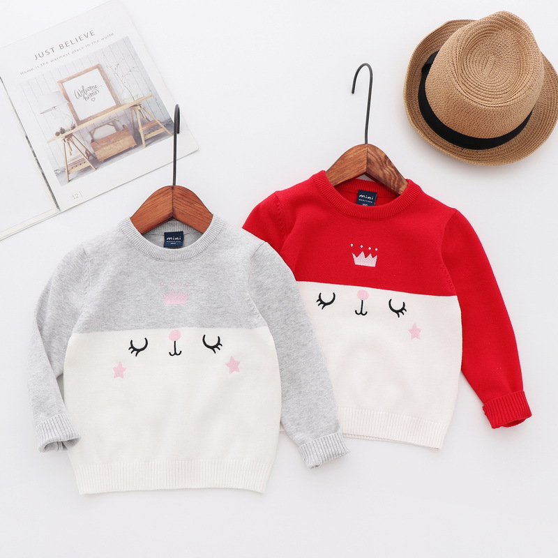 Girl'S Sweater 2019 New Style Coat Spring And Autumn Baby Cotton Knitwear Cartoon Childrenswear Children Pure Cotton Sweater Aut