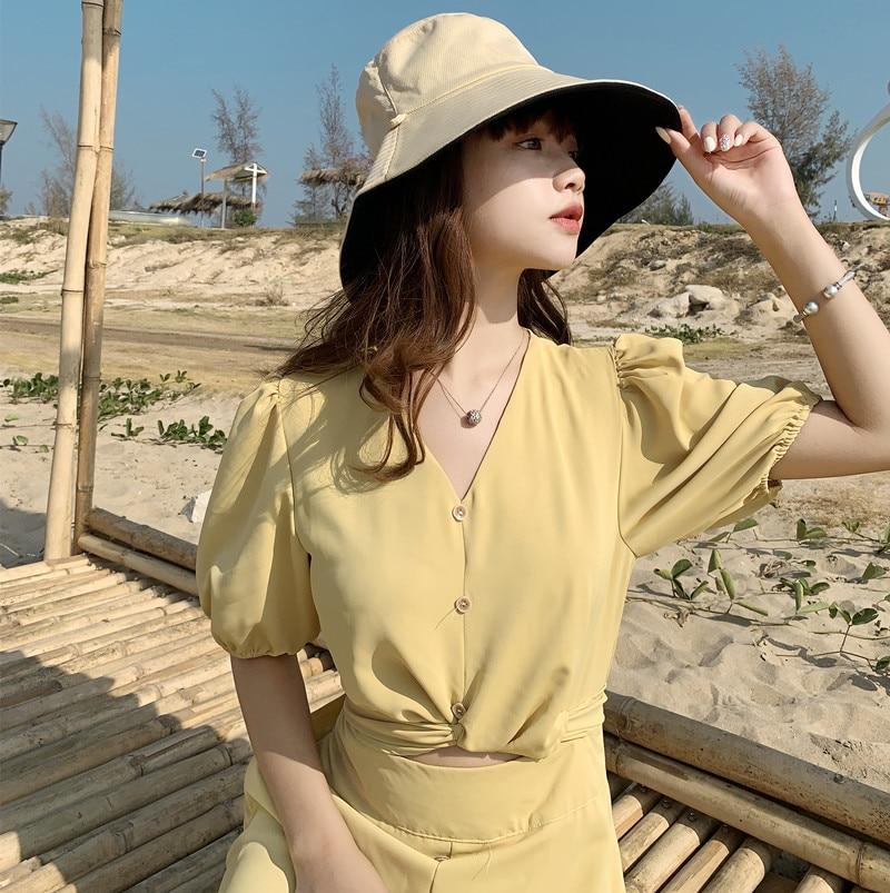 Sparsil Parent Child 2 Side Wear Bucket Hat Women Summer Beach Wide Brim Sun Cap Girl UV Protect Foldable Fisherman Panama Hat