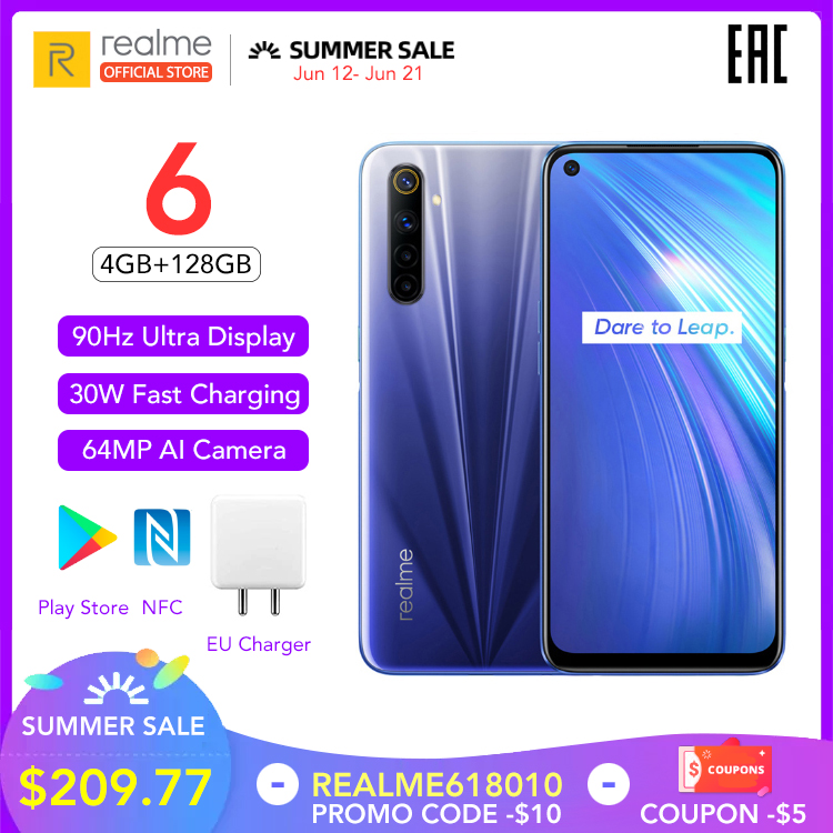 realme 6 Global Version 4GB RAM 128GB ROM Mobile Phone 90Hz Display Helio G90T 30W Flash Charge 4300mAh 64MP Camera Cellphone|Cellphones|   - AliExpress