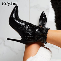 Eilyken Winter Fashion Serpentine PU Leather Ankle Boots Women Thin High Heels Party Boot Zip Shoes Female Pointed Toe Shoes
