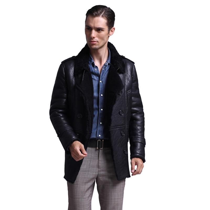 Leather Real Sheep Shearling Fur Short Winter Coat Men Wool Jacket 2020 Veste Homme 152 YY825