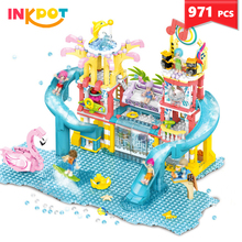 971Pcs City Water Park Building Blocks Summer Holiday City Swimming Pool Toys Girl Friends Figures Bricks for children