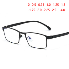 Objetivo asférico cuadrado de negocios 1,56 personalizar gafas de prescripción hombres mujeres Vintage estilo británico marco completo acabado miopía gafas mujer 0 -0,5-0,75-1,0-1,25 a-4,0