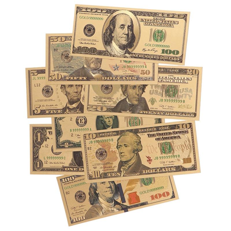 8 Uds 24K chapado en oro dólares billetes conmemorativos dinero falso oro colección de antigüedades 1 2 5 10 20 50 100 dólares