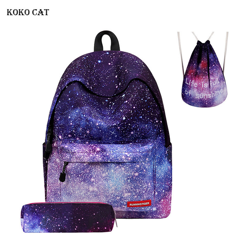 Galaxy Star Space Printing Girl Men Women Mini Canvas Backpack Set Junior High School Drawstring Bag Mochila Shoe Bag For Travel
