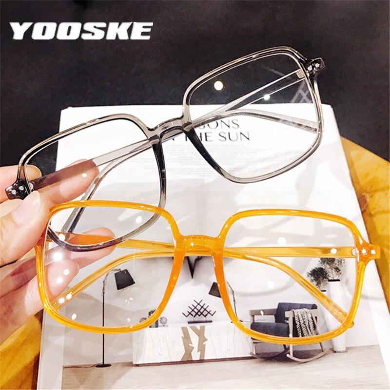 YOOSKE Fashion Oversized Galsses Frame Women Men Clear Optical Eyeglasses Vintage Spectacles Frames