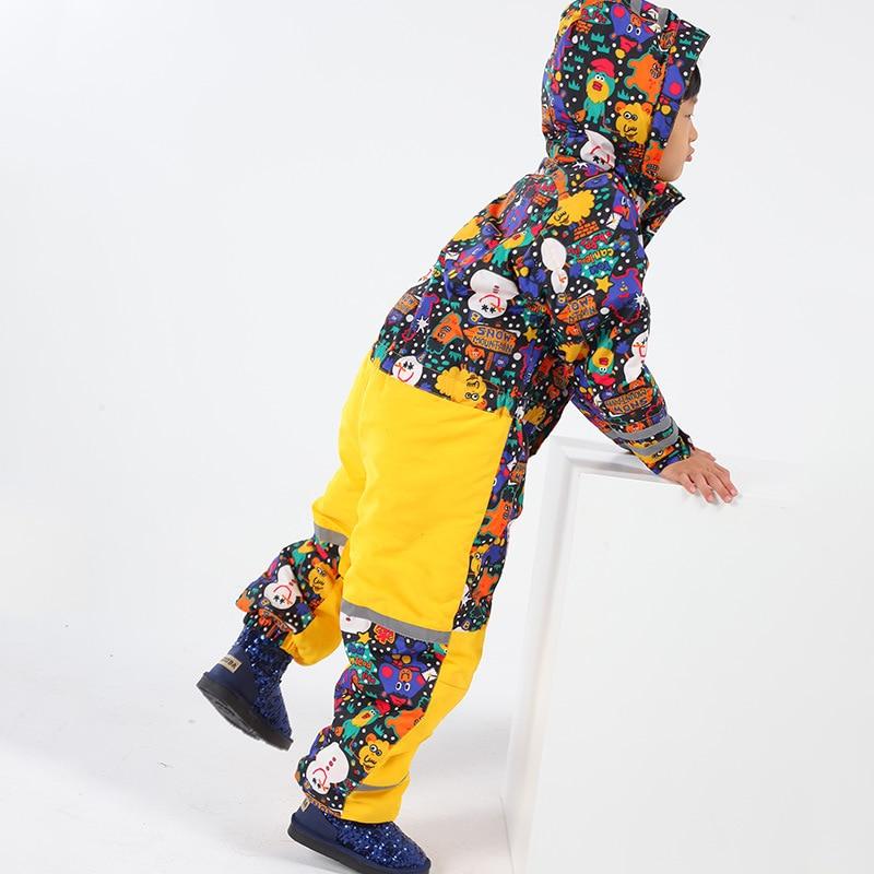 Girls Ski Suit Boy Snowboard Suits Children Waterproof One-Piece Ski Suit Windproof Warm Overalls Kids Winter Clothing Jumpsuits