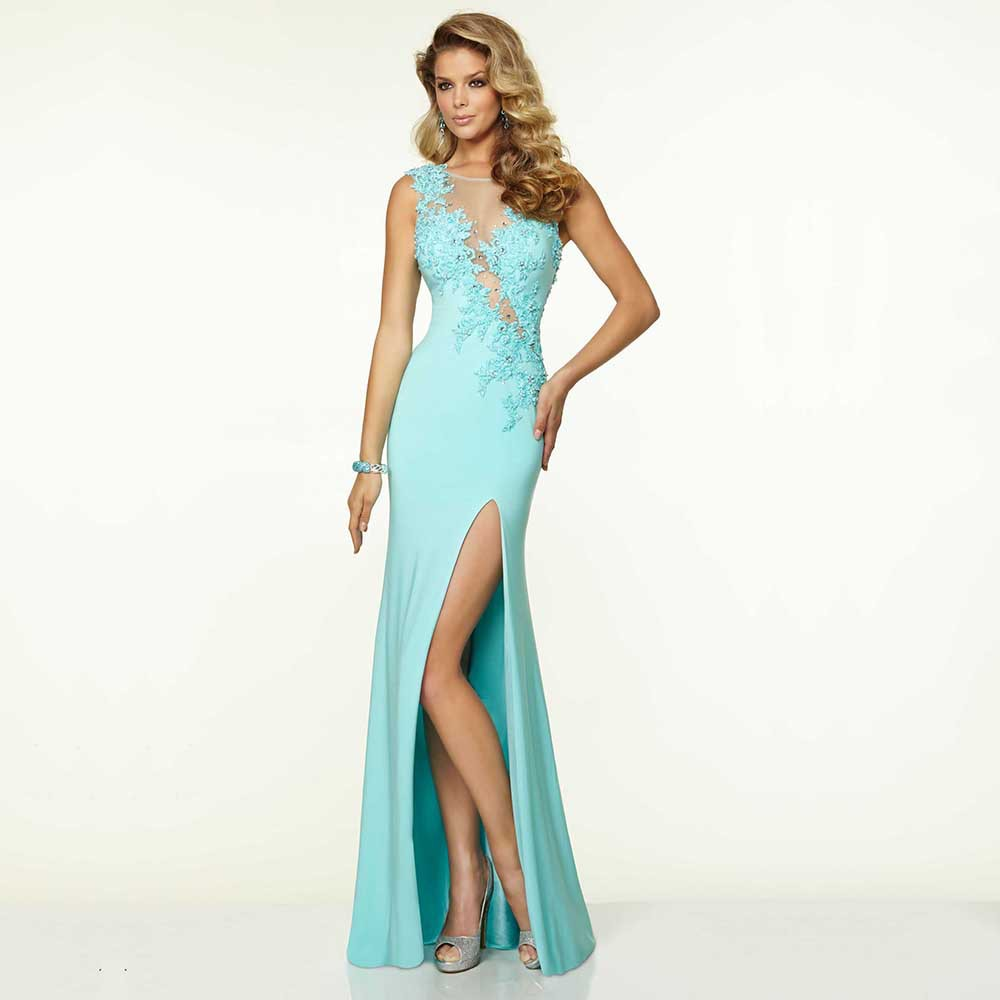 Sexy Fashion Scoop Sleeveless Beaded Leg Split Vestido De Noiva Gala Long Formal Party Prom Gown 2018 Bridesmaid Dresses