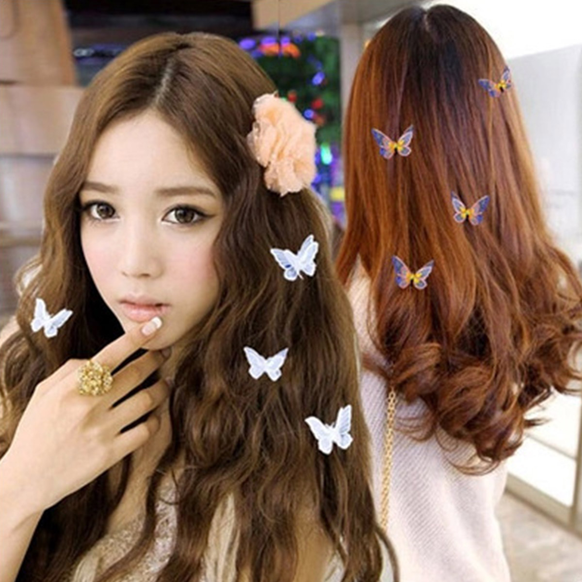 Xugar Hair Accessories 1Pcs Cute Butterfly Hair Clips for Women Girls Embroidery Metal Hairpins Sweet Bride Wedding Headwear in Women 39 s Hair Accessories from Apparel Accessories