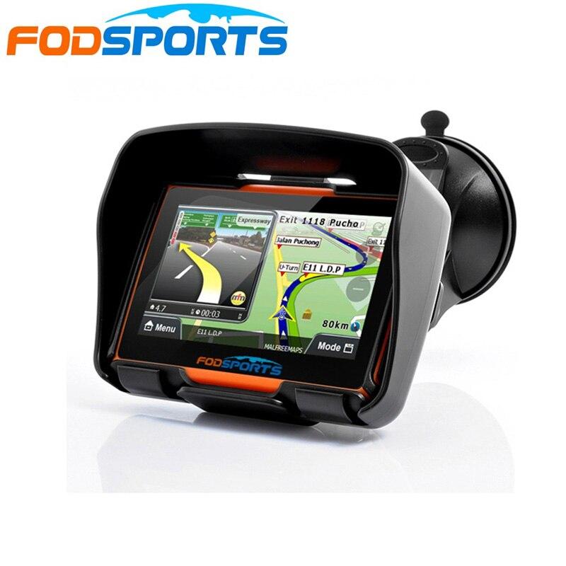 Fodsports 4,3 дюймов мотоциклетная навигация 8 Гб 256RAM IPX7 водонепроницаемый мото GPS автомобильный навигатор FM Bluetooth система Windows бесплатные карты