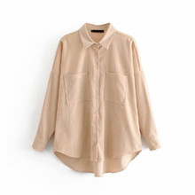 Ladies Vintage Spring Autumn Corduroy Blouse Women Shirt Korean Long Sleeve Women Tops Blouse Shirt Female Blusas Roupa Feminina(China)