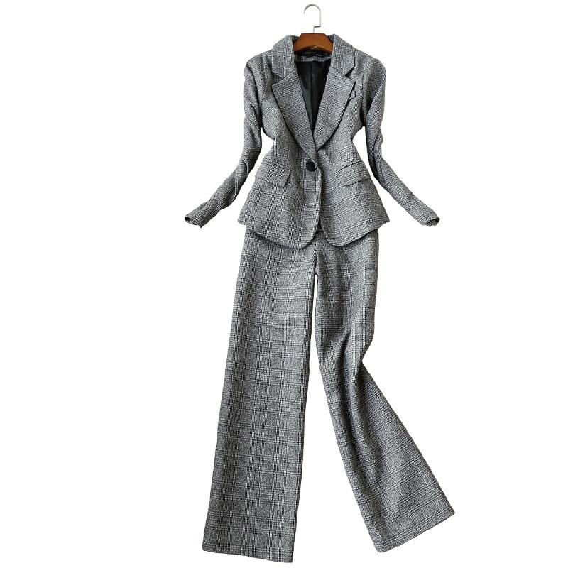 2019 New Winter Professional Women's Suit Pants Set Two-piece Slim-fit Plaid Ladies Jacket Small Suit Office Casual Trousers