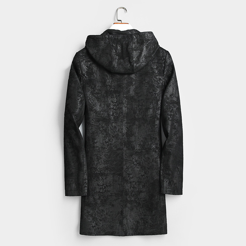 Men's Genuine Jacket Hooded 100% Goatskin Coat Mens Print Leather Jackets Windbreaker Chaqueta Cuero Hombre 2201 YY443